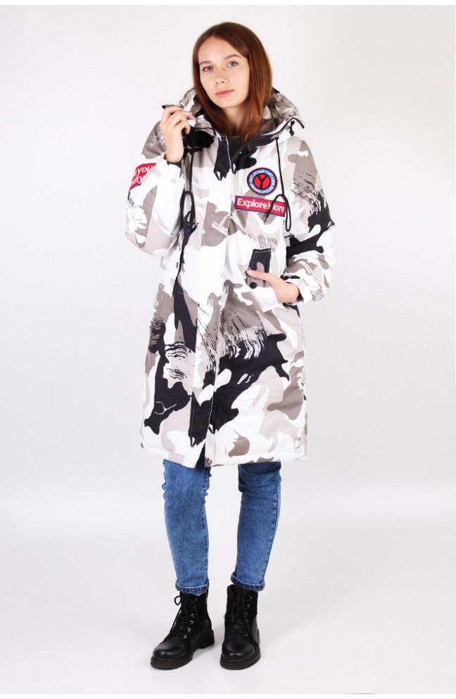 Куртка длиная женская камуфляжнфя белая 121671L