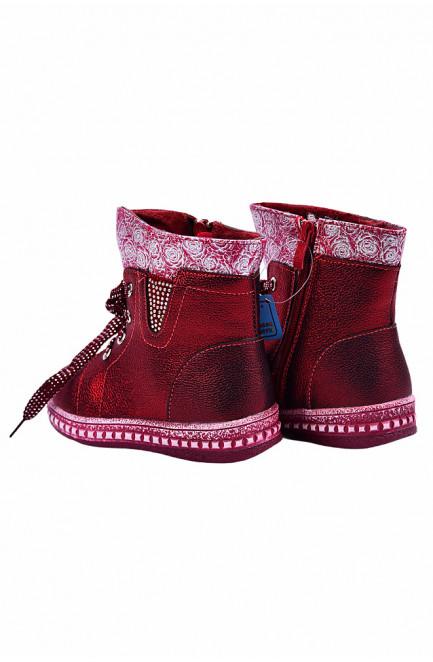 Ботинки детские девочка на меху бордовые 127482L