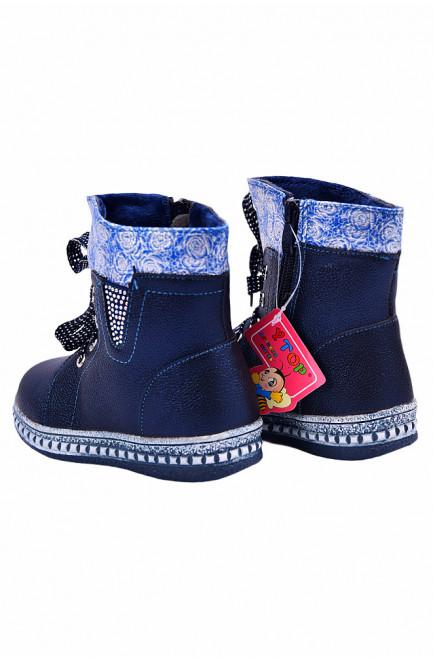 Ботинки детские девочка на меху темно-синие 127483L