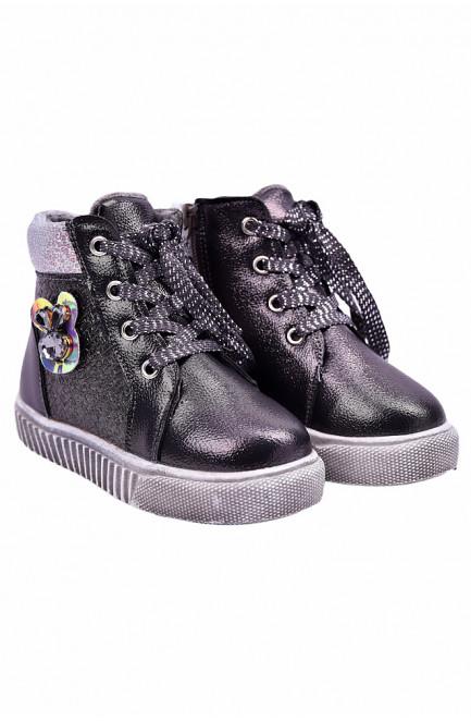 Ботинки детские девочка на меху черные 127485L
