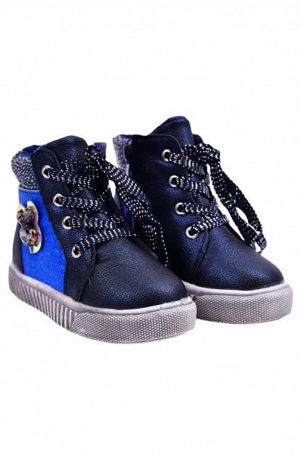 Ботинки детские девочка на меху синие 127486L