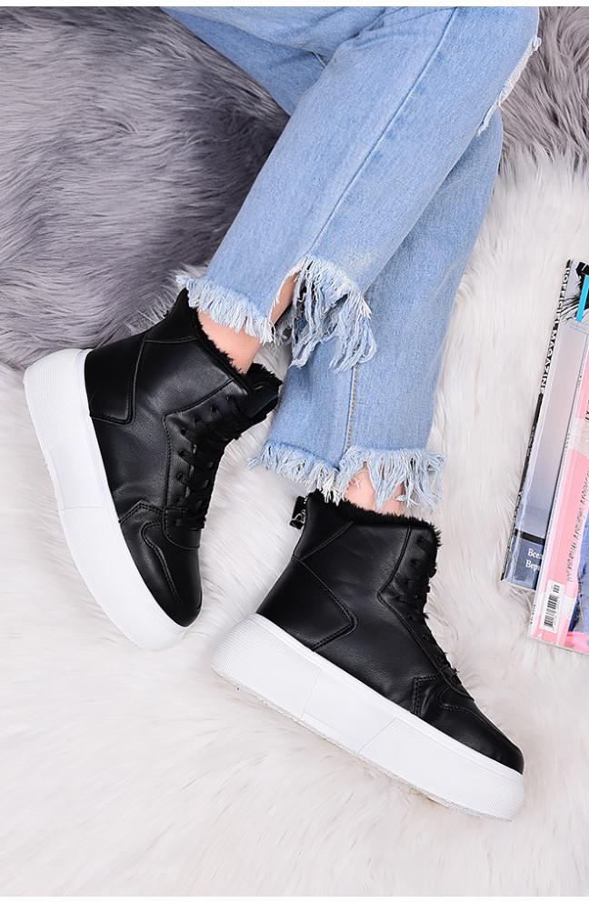 Ботинки женские на меху черные 127592L