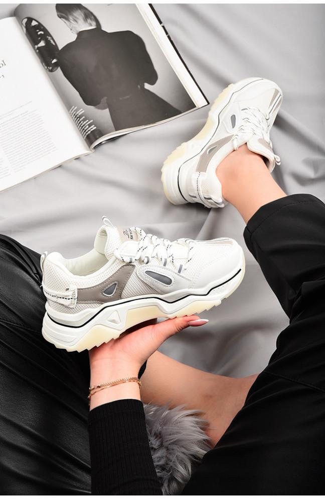 Кроссовки женские белые 129153L
