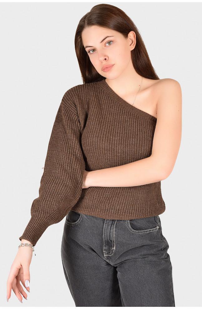 Свитер женский вязанный коричневый размер 44 128401L