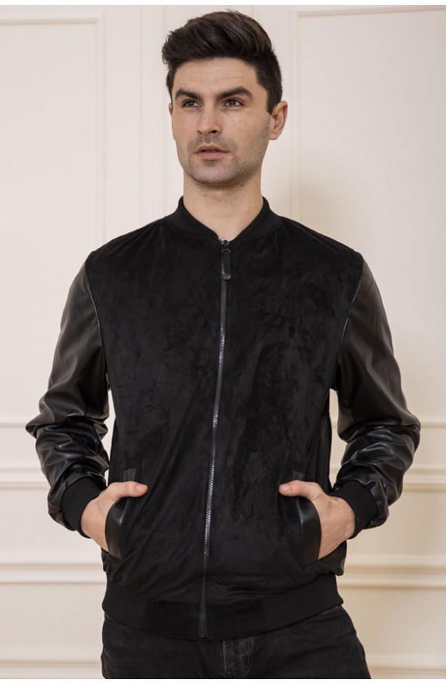 Бомбер мужской велюровый с кожаными рукавами черный 127566L